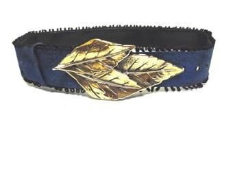 Dark Blue Belt With Gold Tone Leaf Buckle Cinch Waist
