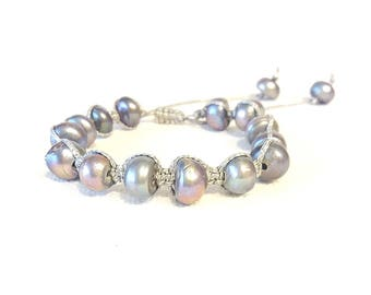 gray freshwater pearls pull tie macrame bracelet
