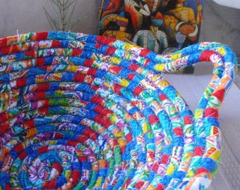 Bright Coiled Fabric Basket in Primary Colors - Handmade by Me, Red, Blue, Yellow