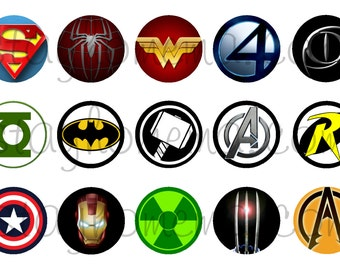 INSTANT DOWNLOAD One Inch 4x6 Bottle Cap Images: Superhero Logos