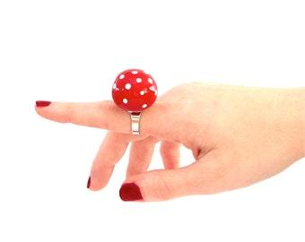 Polka Dot Statement Ceramic Ring - big ring, bold ring, ceramic jewelry, handmade ring, cocktail ring, fashion ring
