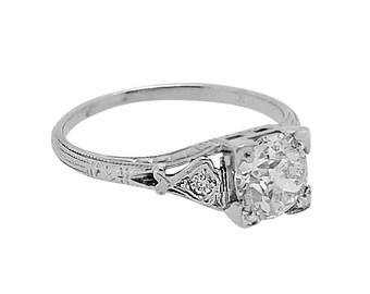 Art Deco Antique .85ct. Engagement Ring 18k White Gold - J36759