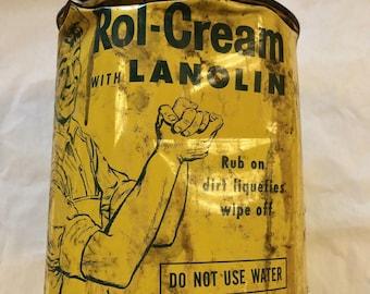 Rare Vintage Lanolin Can Rol-Cream Yellow Advertising Mechanic Hand Cleaner Man Cave Decor Garage Mid Century Display Advertising
