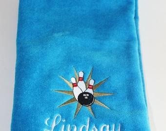 Embroidered Personalized HEMMED Sports Towel with Grommet- Bowling Pins and Ball