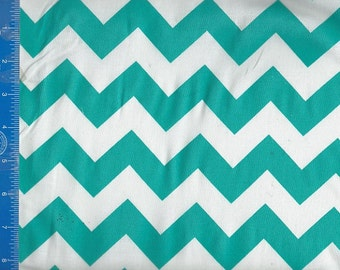 Chevron Zigzag Blue Aqua/White Fabric Quilting Crafting Home Decor