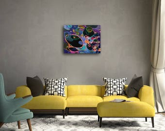 Abstract Acrylic Painting on Gallery Wrapped Canvas Hot Pink Circles Layers Vibrant Art Original Art