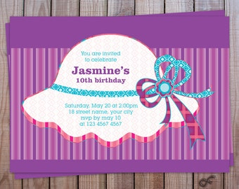 Birthday Party Invitation Personalized Printable - Hat