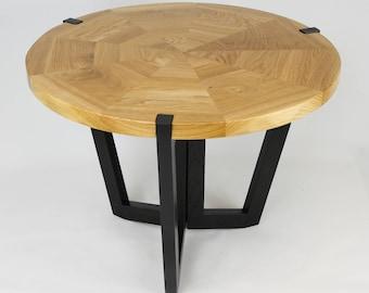60cm Modern Round Oak Coffee Table