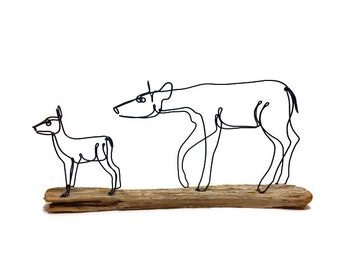 Doe and Fawn Wire Sculpture, Deer Sculpture, Wildlife Art, Minimal Sculpture, Wire Folk Art, 585573688
