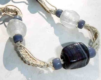 Chunky Dark Purple Glass Bead Macrame Necklace Hand Knotted