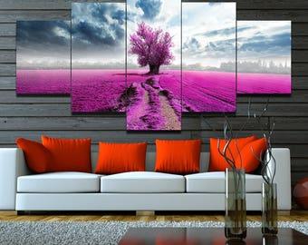 5 Panels Pink Field Canvas Art Multi Grouped Art Work