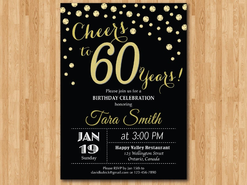 60th birthday invitation. Gold Glitter. Cheers to 60 Years