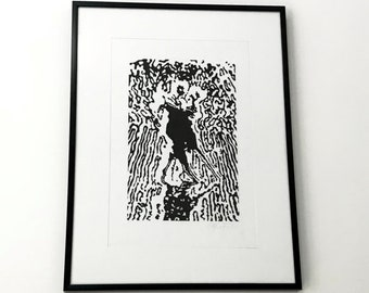 LINOCUT PRINT Dancing Engraved and printed by hand - HANDMADE prints 12x16inches 30x40cm
