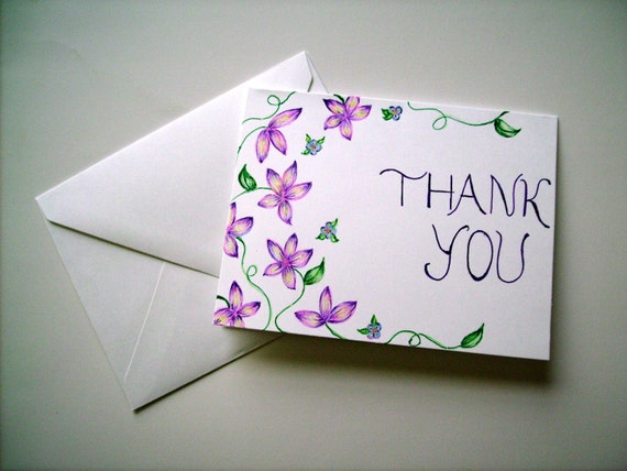 Hand drawn thank you card blank card greeting card floral hand drawn thank you card blank card greeting card floral thank you card color pencil drawing purple flowers small drawing floral art m4hsunfo Images