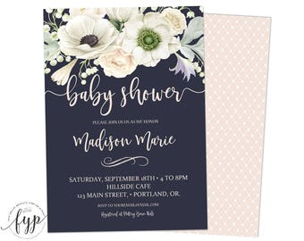 Floral Baby Shower Invitation - Girls Baby Shower Invite - Printable Baby Shower - Flower Baby Shower - Gender Neutral - Navy and Cream