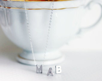Initial Necklace - Tiny Initial Necklace- Sterling Silver