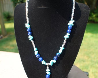 Lapis Lazuli necklace and earrings, Turquoise necklace and matching earrings, Czech glass beads, stone jewelry