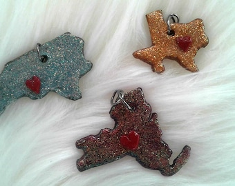 State charms, polymer clay charms, tiny state charms, state charm jewelry, home state charm, gifts for her, north carolina, new york, texas