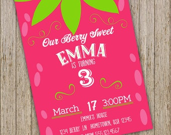 Strawberry Invites, Strawberry Birthday , Strawberry party, Berry invitations,  Berry Invitation,  Girl Birthday Invites, Berry Party