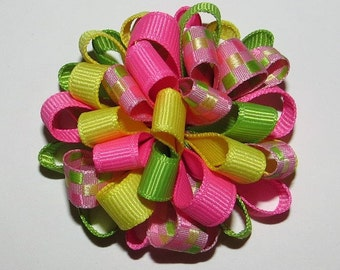 Easter Spring Loopy Puff Bow, Green, Pink, Yellow