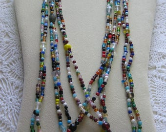 """N- Three """"double strung"""" Glass Mardi Gras beads from New Orleans-Carnival --Parade"""