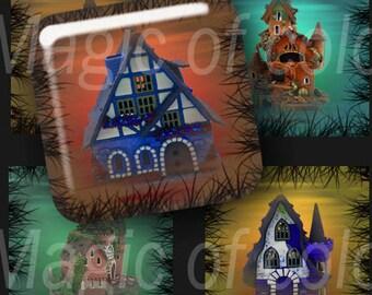 Fantastic Houses - 63  1x1 Inch Square JPG images - Digital  Collage Sheet