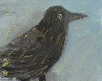 Black Bird -  original small painting, fine art, affordable art by Irene Stapleford - wantknot shop