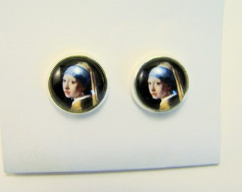 Vermeer GIRL with a PEARL EARRING Petite Silver Stud Earrings -- Fine art earrings, Meisje met de parel