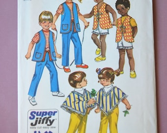 70s Childrens Sewing Pattern Simplicity Jiffy 9184 Boys girls Vest, Poncho and Pants