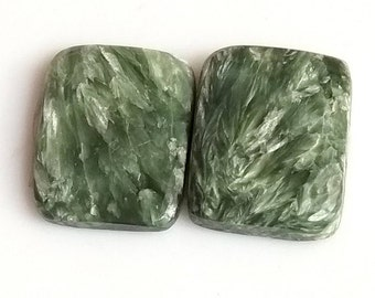 Seraphinite Ractangle Smooth Cabochon, Natural Seraphinite Designer Cabochon Pair, 18x14 MM, 19 Cts, Loose Gemstone Pair.