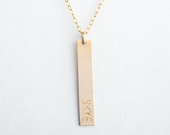 "Vertical Bar Necklace, Classic Bar, 1.25"", Gold Filled, Sterling Silver, Rose Gold Filled"