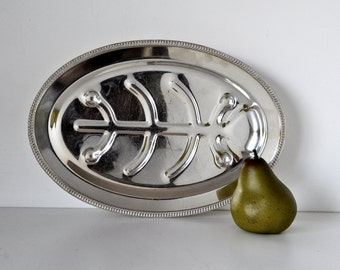 Vintage Footed Meat Carving Tray Serving Platter