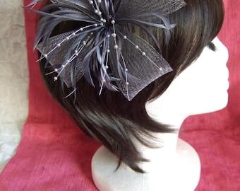 Silver Grey Fascinator. Silver Grey looped net & feather flower fascinator on a forked clip / brooch pin. Wedding Fascinator, Grey Headdress