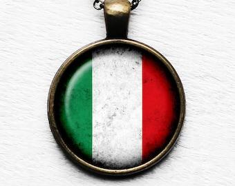 Italy Italion Italia Flag Pendant & Necklace