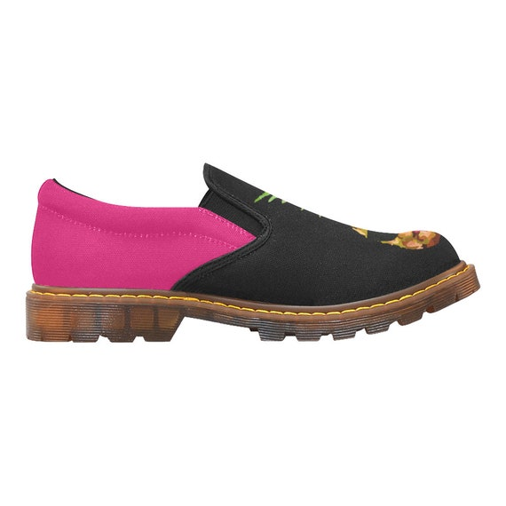 black canvas shoes designed women's sole slip fuchsia rubber shoes and on for Pineapple flats on shoes women art slip shoes women 7wqp4Yt