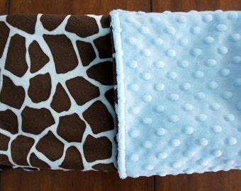 Sale - Blue Giraffe Minky - Blue Dimple Dot Minky - Double-Sided Minky Baby Blanket