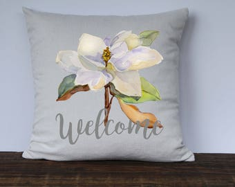 Farmhouse Pillow Cover, Magnolia Pillow, Welcome Pillow, Housewarming Gift, Wedding Gift, Decorative Pillow Cover, Custom couch pillow