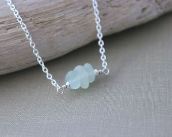 Genuine sea glass necklace - Triple seafoam seaglass sterling silver necklace - Simple Beach jewelry - horizontal necklace - ready to ship