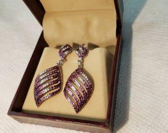 Agya Earrings- Purple and white diamonds