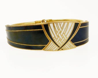 Art Deco Hinged Bangle Bracelet Black & White Enamel Bracelet