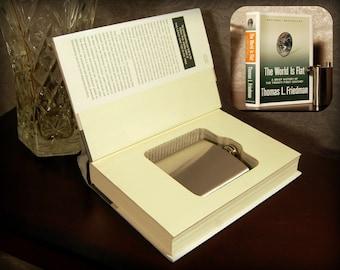 Hollow Book Safe & Flask - The World is Flat - Secret Book Safe