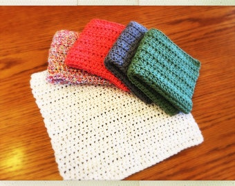 Crocheted Assorted Color Cotton Wash Cloths