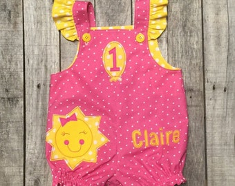Pink Lemonade First Birthday Romper - You Are My Sunshine