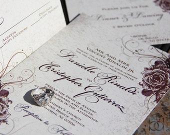 Elegant Rose Wedding Invitations,Vintage rose invitations,Elegant Fall invitations,Burgundy rose,vines,printed invitations