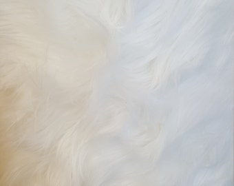 Shaggy Luxury Faux Fake Fur / White Fabric by the yard