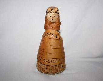 Vintage Wood Bark Doll Weaved Wood Bark Doll Scandinavian Doll Folk Art