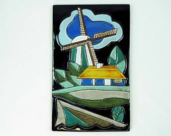 Art Deco French Cubistic Ceramic Plaque