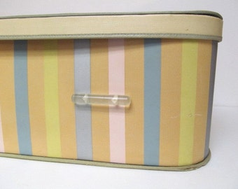 Mid Century Pastel Striped Storage Box