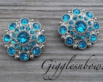 NEW Set of Two LIMITED EDITION Turquoise Acrylic Rhinestone Buttons 27mm
