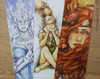 Lot de 3 marque-pages féeriques - AU CHOIX - Tirés d'aquarelles originales Delphine GACHE